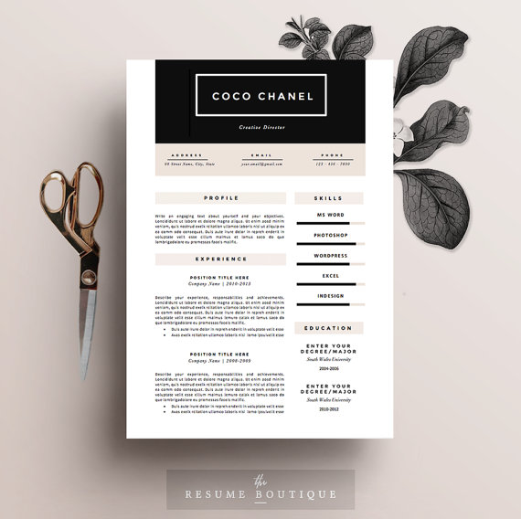 Resume Template 3page Sultry by TheResumeBoutique on - resume template microsoft word download
