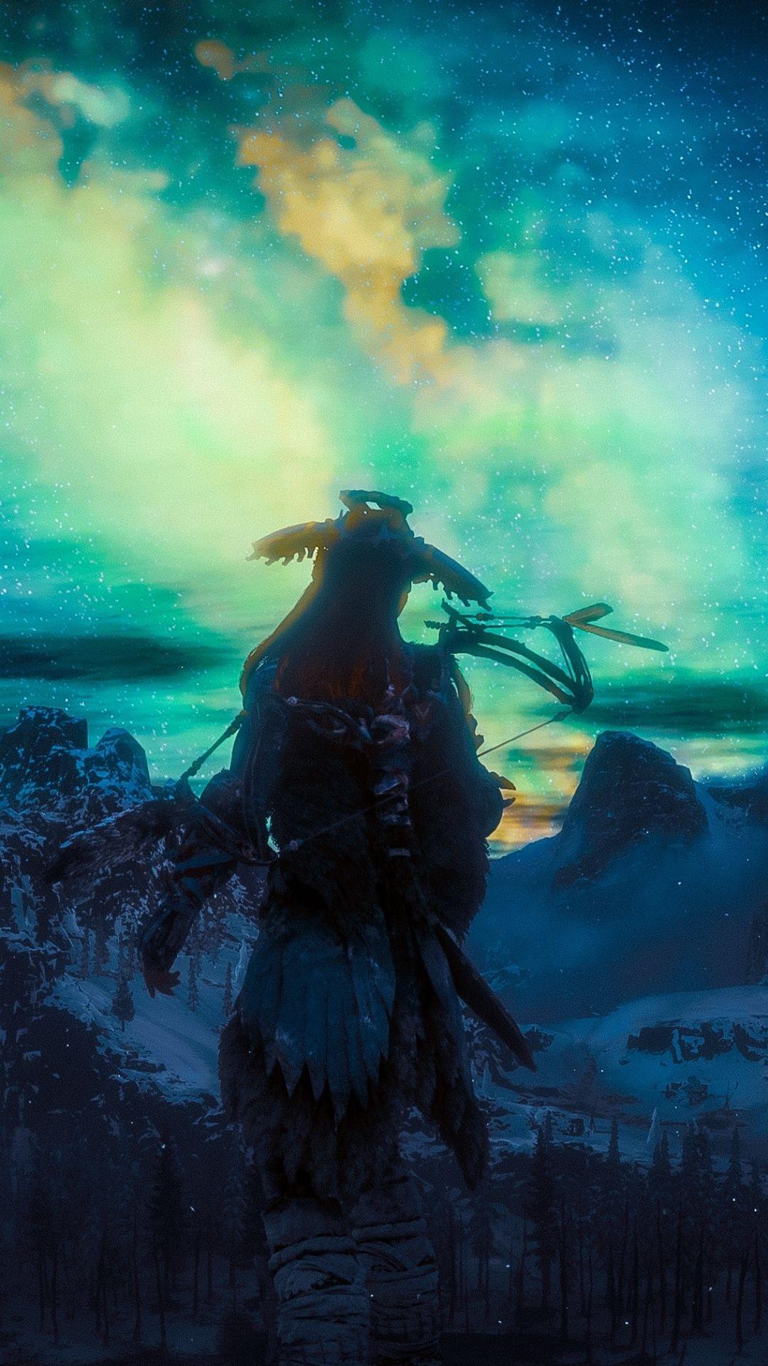 Northern Lights, Aloy, video game, Horizon Zero Dawn, 1080x1920 wallpaper