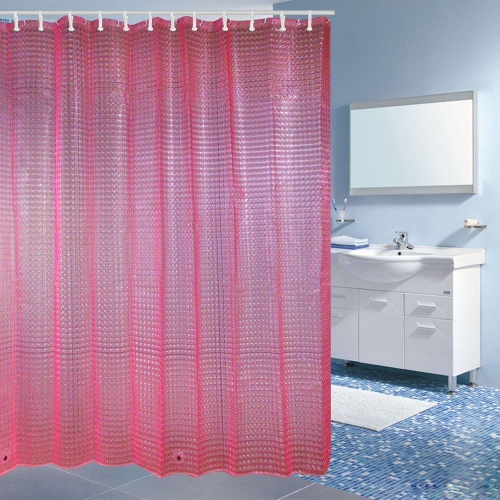 Wimaha Pink Peepholes Design Shower Curtain Eva Shower Curtain