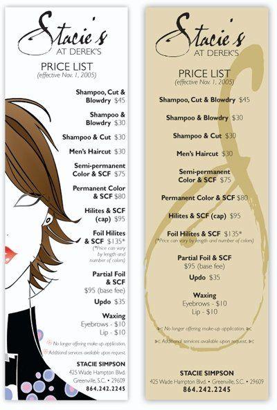 Hairdresser Price Card Samples Hair Salon Price List