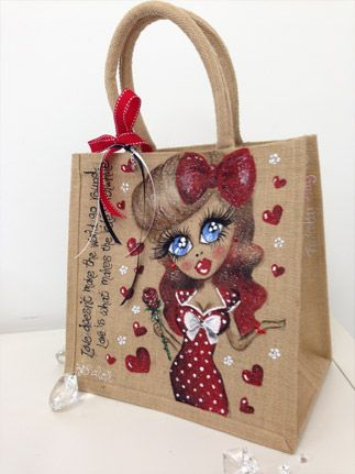 Beautiful, sparkly hand painted Jute Bags - The Pretty Bag Company ...