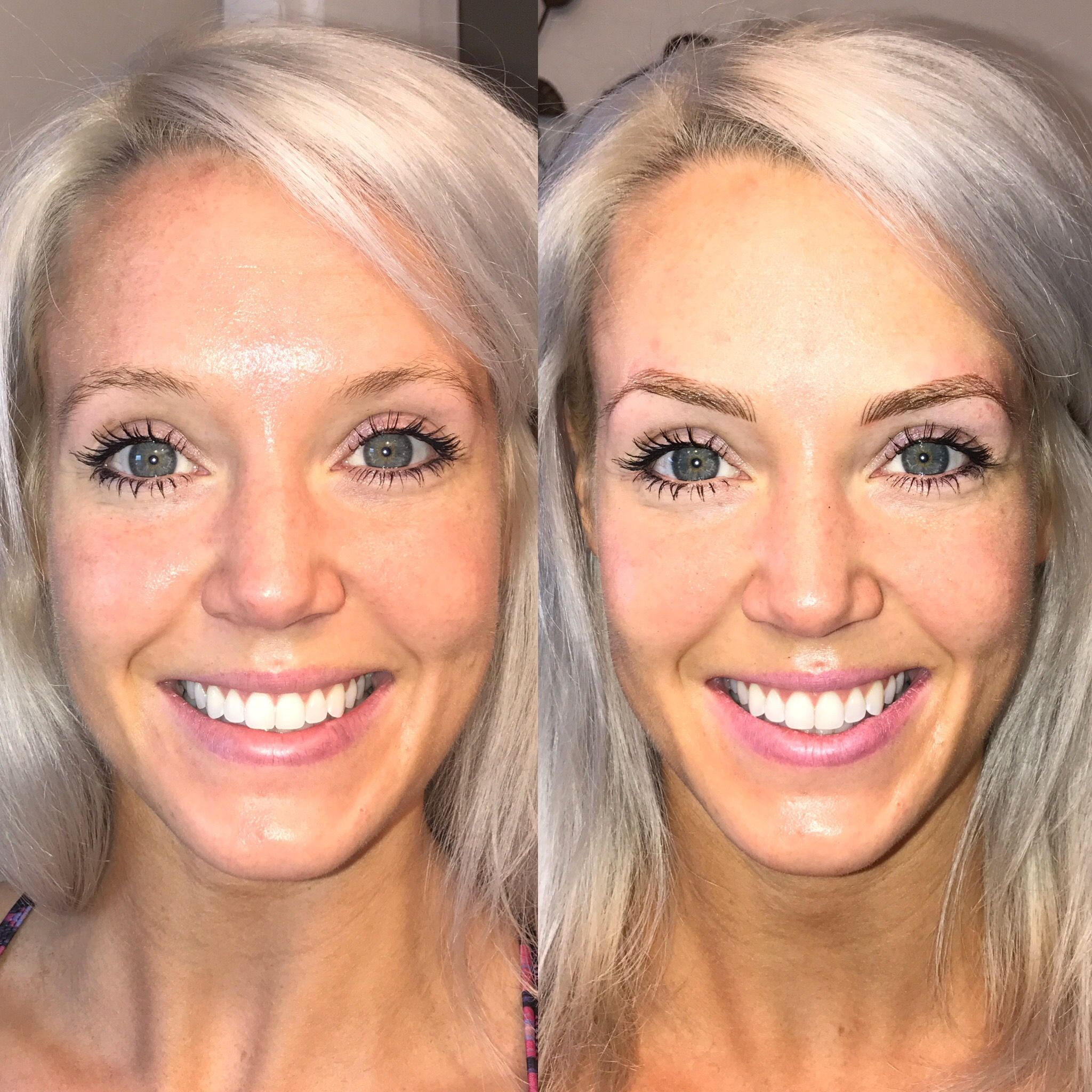 Brows are the ONLY difference between these two photos ...