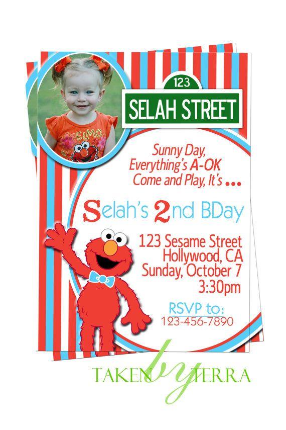 Red And Aqua Custom Designed Elmo Birthday Invitation