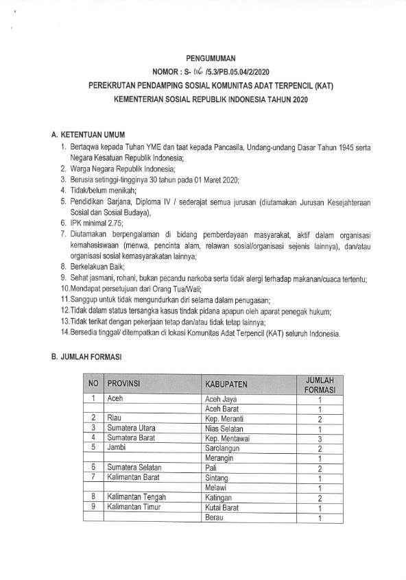 Lowongan Kerja Lowongan Kerja Kementerian Sosial Republik Indonesia Pendamping Sosial Kat Tahun 2020 Tuhan Indonesia Undangan
