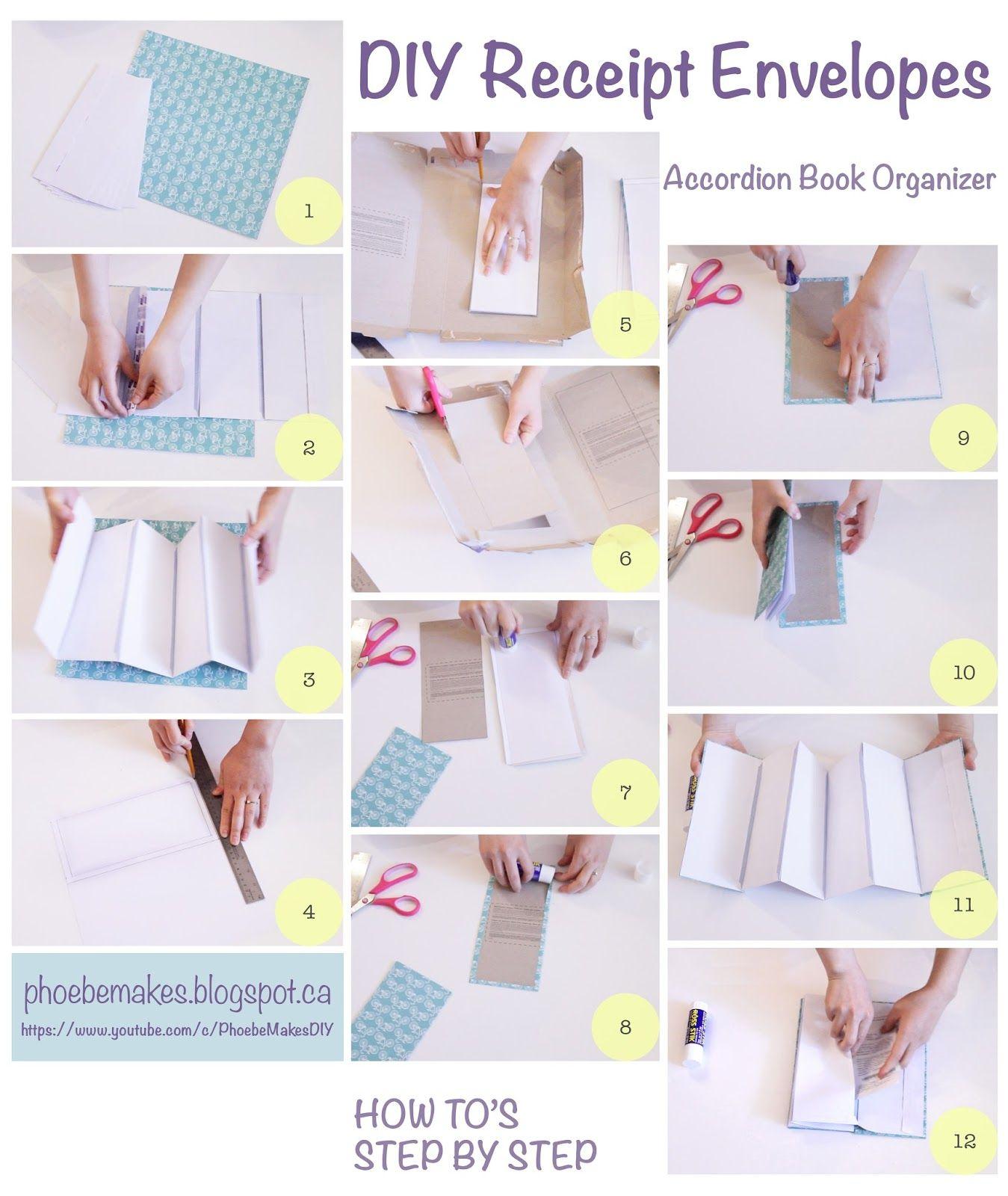 receipt envelopes accordion book diy desk organization and