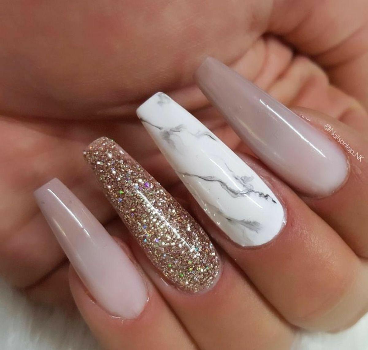 Long Ballerina Nails. Marble Nails. Glitter Nails. Acrylic ...