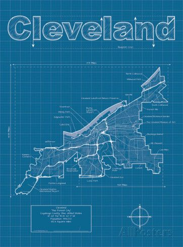 Cleveland Artistic Blueprint Map Gifts For My Difficult Husband