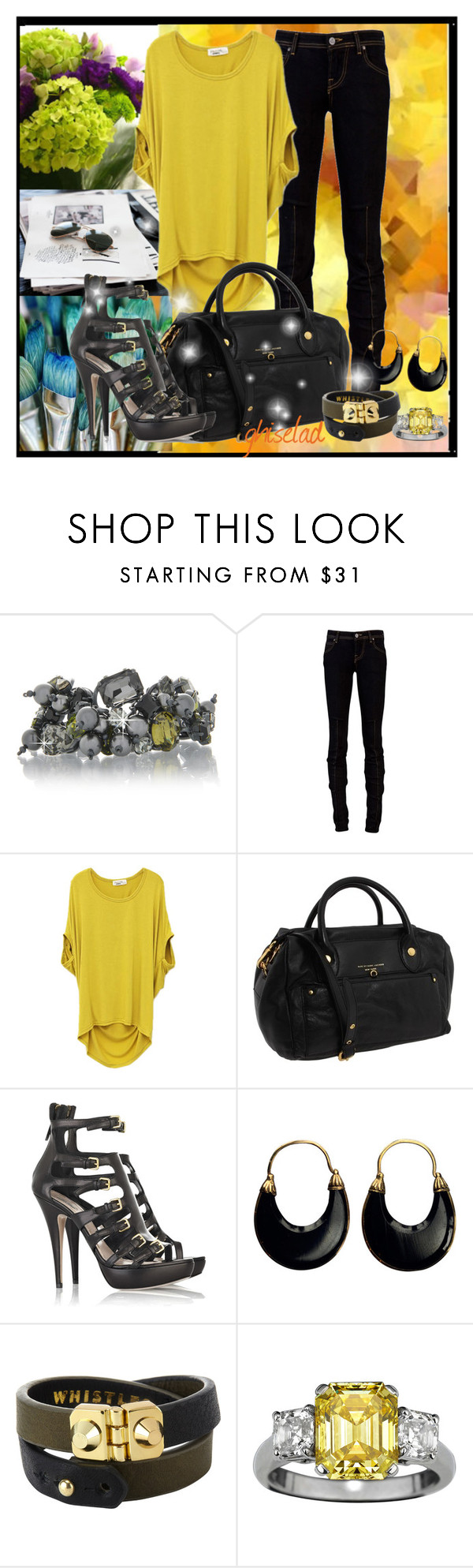 """Simple Yellow!!!!!!"" by ghiselad ❤ liked on Polyvore featuring LK Designs, Vivienne Westwood Anglomania, Marc by Marc Jacobs, Miu Miu, black bag, marc jacobs, mini dress, lk desing, platform and tunic"