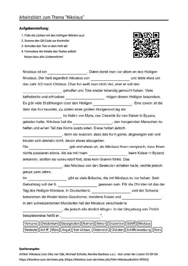 Arbeitsblatt Mit Luckentext Zum Thema Nikolaus Arbeitsblatter Arbeitsblatter Deutsch Nikolaus