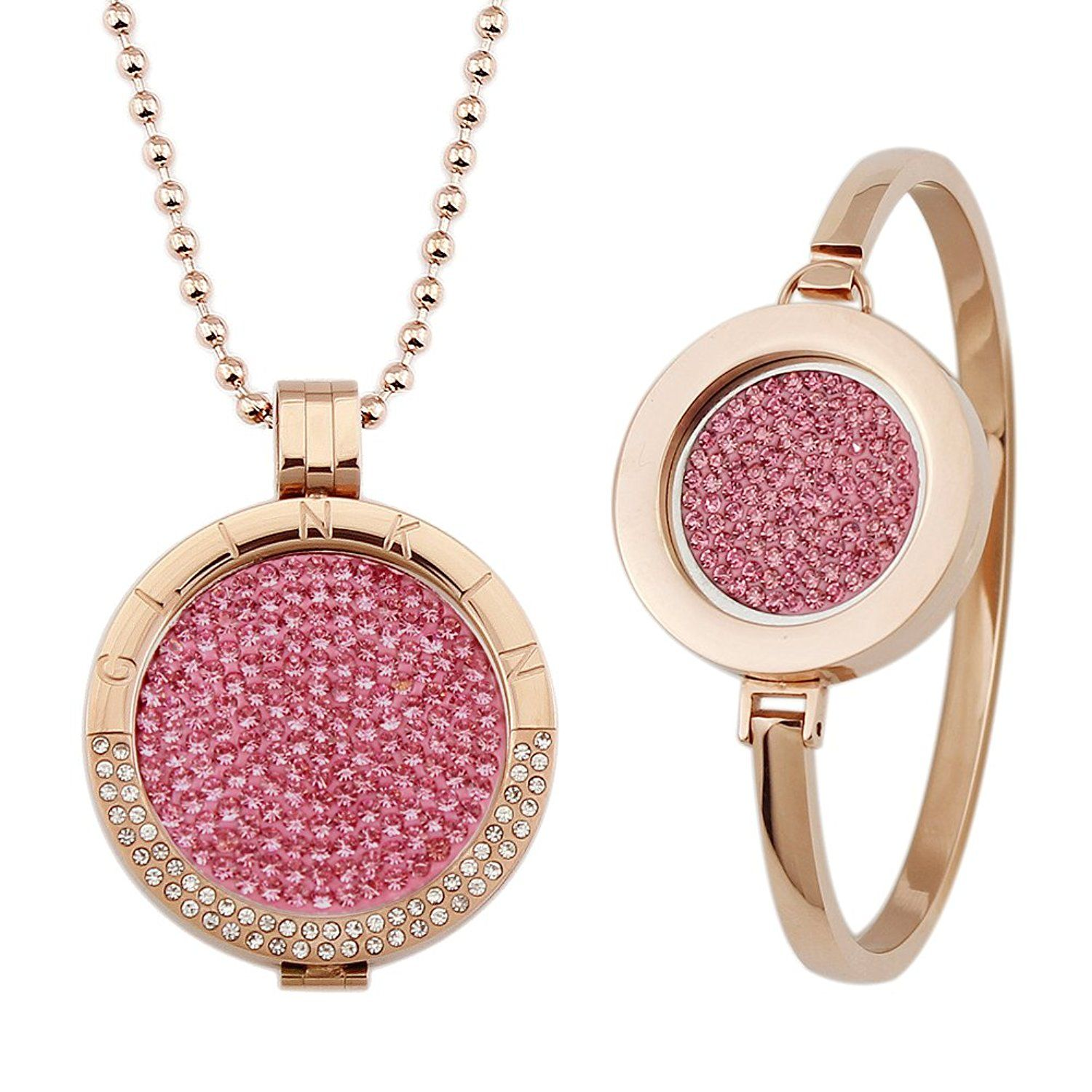Glinkin stainless steel coin necklace and bangle set k rose gold