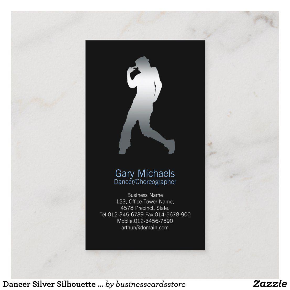 Dancer Silver Silhouette Dancer Business Card Zazzle Com Dancer Business Card Dancer Silhouette