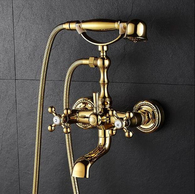 Photo of New Bathtub Faucets Luxury Gold Brass Bathroom Faucet Mixer Tap Wall Mounted Hand Held Shower …