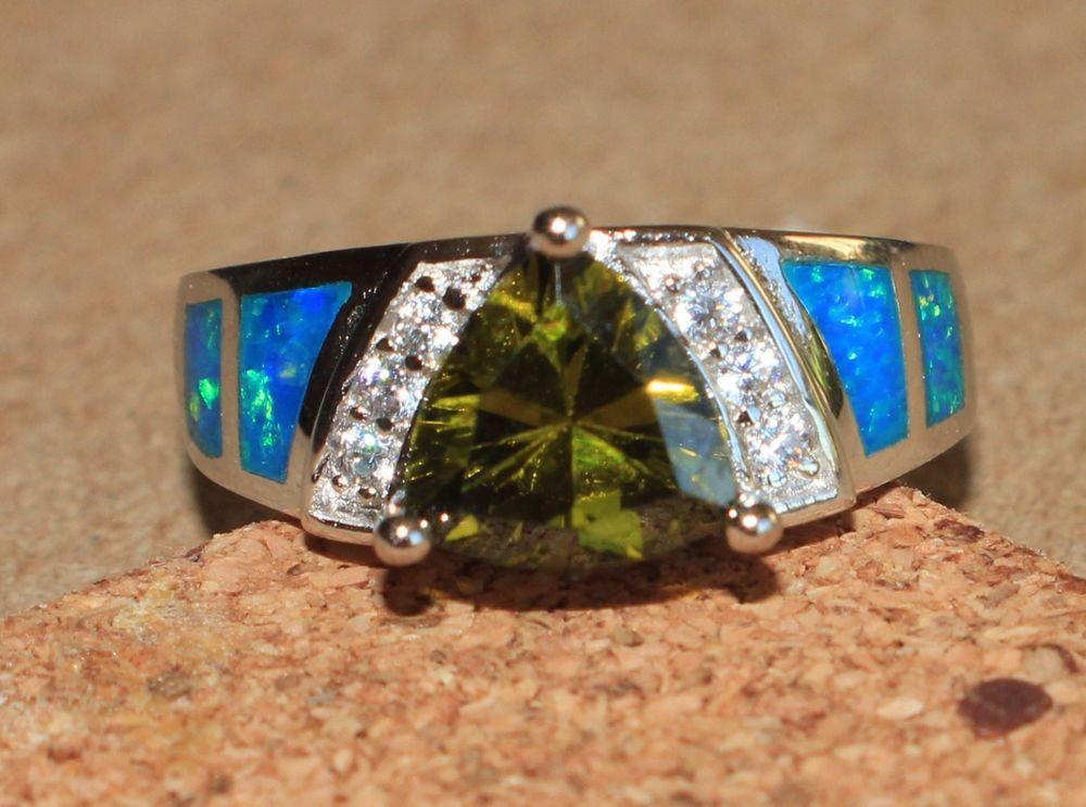 blue fire opal Cz Topaz ring Gems silver jewelry Sz 6.25 exquisite cocktail GEMS