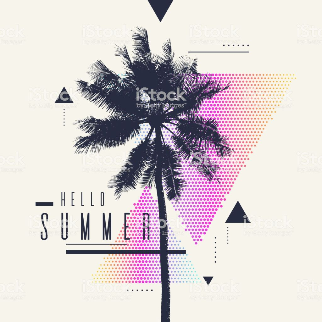 Hello Summer Modern Poster With Palm Tree And Geometric Graphic