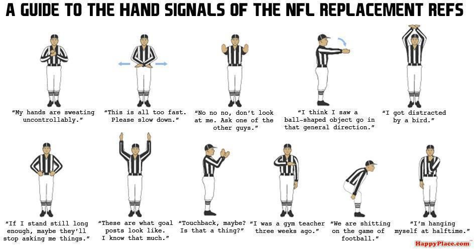 The Guide To The Hand Signals Of The Nfl Replacement Refs Rats Funny Bone Hand Signals Nfl Bones Funny
