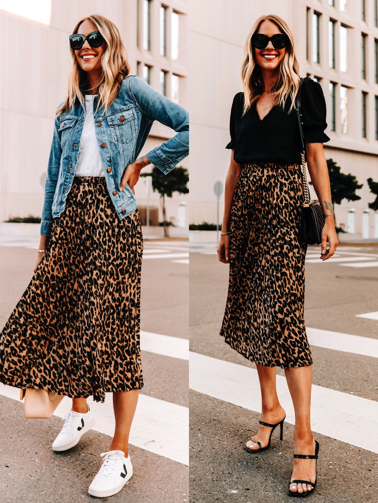 Leopard Skirt, How to Wear Leopard, How to Style Leopard, Jean Jacket  Outfit, Workwear Outfit   Skirt and sneakers, Fashion jackson, Leopard  skirt outfit