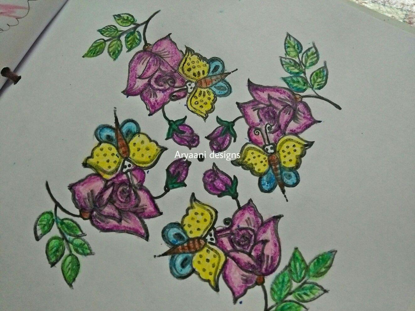 Roses...rangoli Rangoli designs, Sketches, Art
