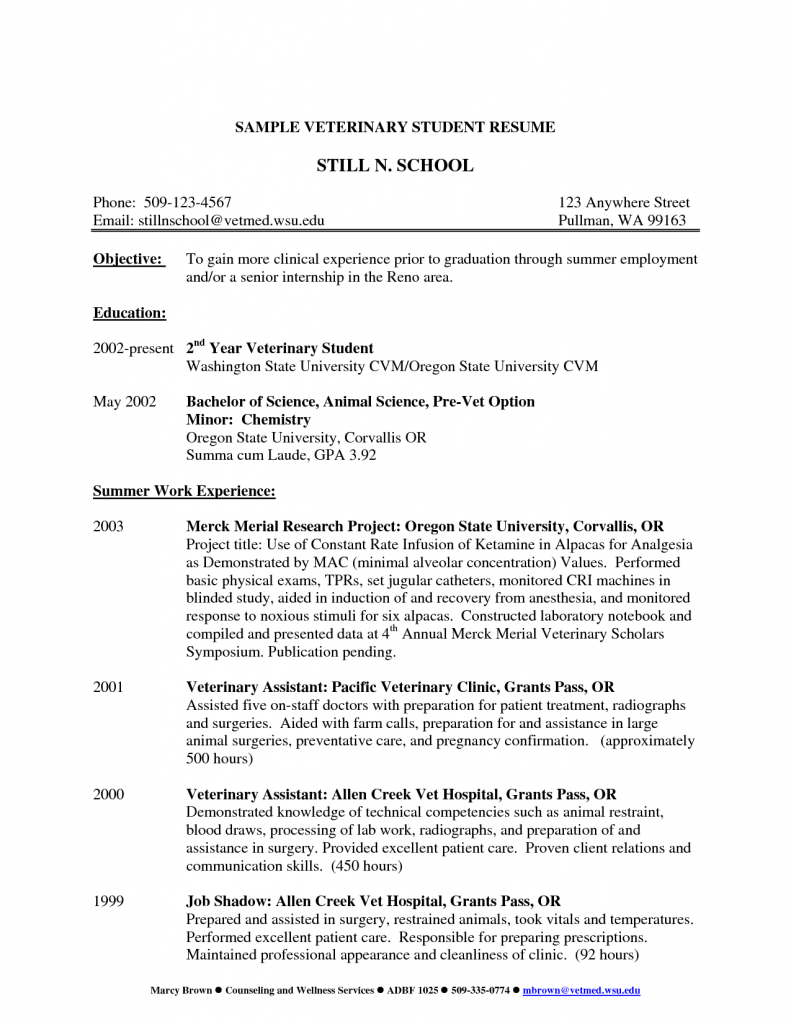 Cv Template Veterinary Student Nursing Resume New Grad