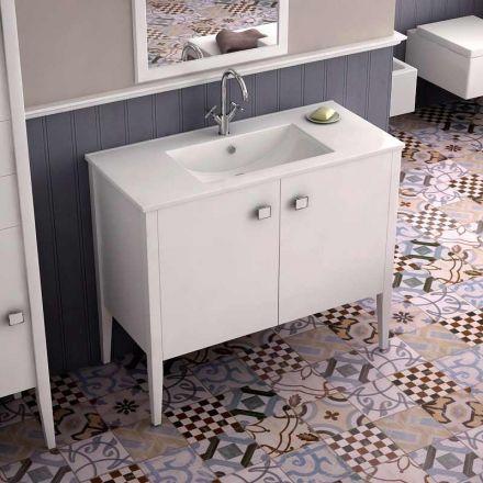 Meuble vasque poser en mdf laqu pour salle de bains quip d 39 un plan vasque en c ramique 2 - Meuble salle de bain pour vasque a poser ...