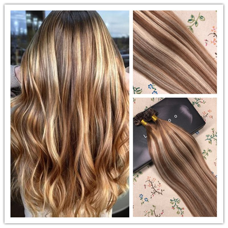U Tip Pre Bonded Keratin Fusion Remy Human Hair Extensions Brown