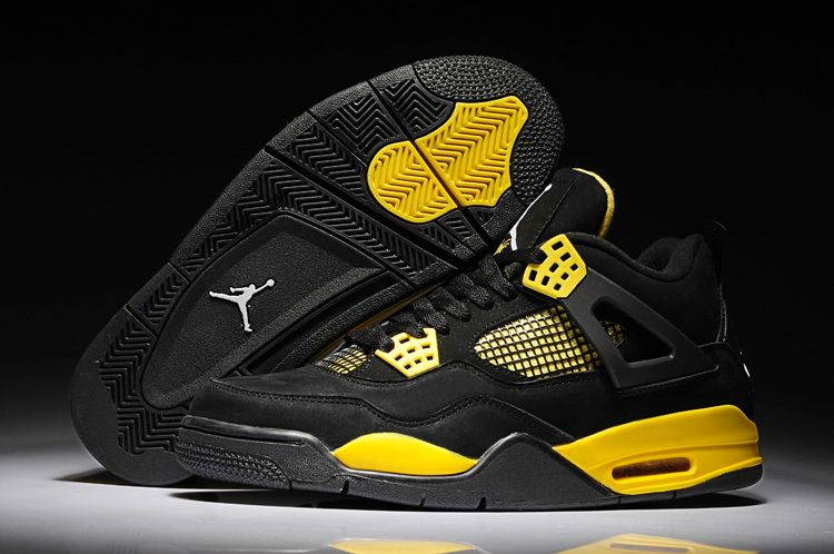 wholesale dealer 2eaf7 3c532 Air Jordan Shoes Air Jordan 4 Black Yellow Suede  Air Jordan 4 - July 2013  new arrivals. TheNike Air Jordan 4 has side ankle supports and innovative  molded ...