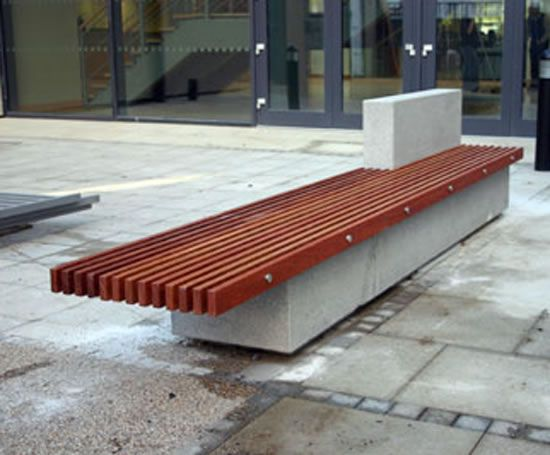 Soca Bench Hardwood Slats And Concrete Base Landscaping Public Space Urban Garden