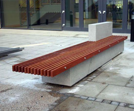 Soca Bench Hardwood Slats And Concrete Base Landscaping Public Space Urban Garden