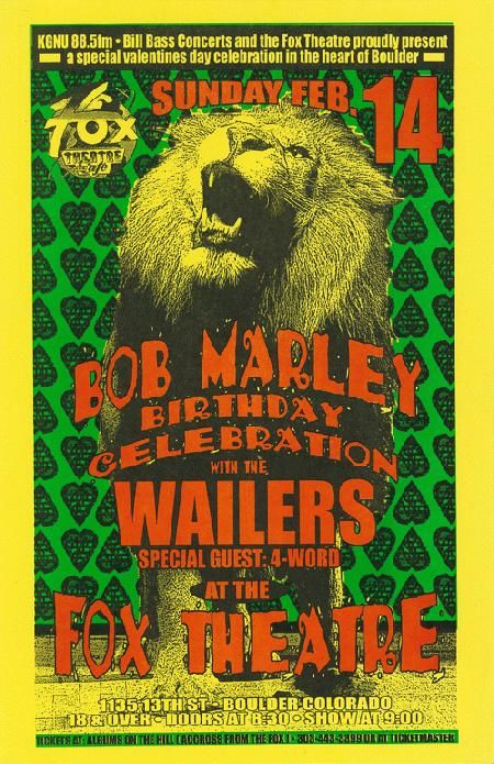 concert poster for the wailers and bob marley 39 s birthday celebration at the fox in boulder co. Black Bedroom Furniture Sets. Home Design Ideas