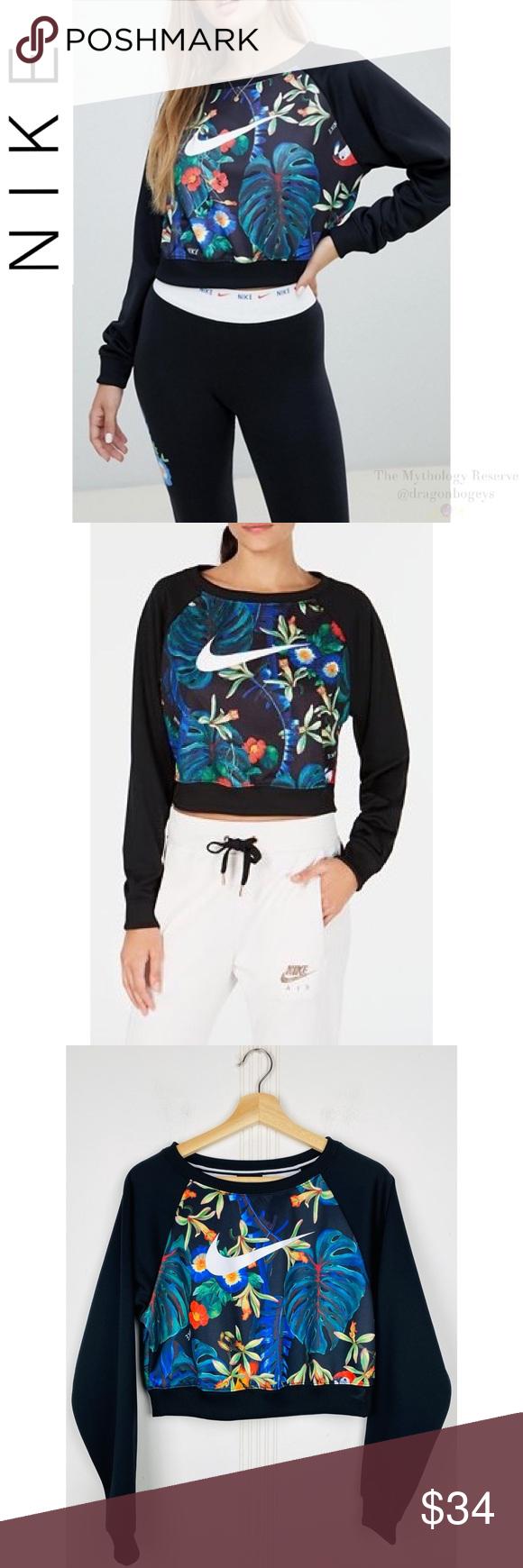 Nike Black Tropical Print Cropped Sweatshirt Crop Sweatshirt Black Nikes Sweatshirts [ 1740 x 580 Pixel ]