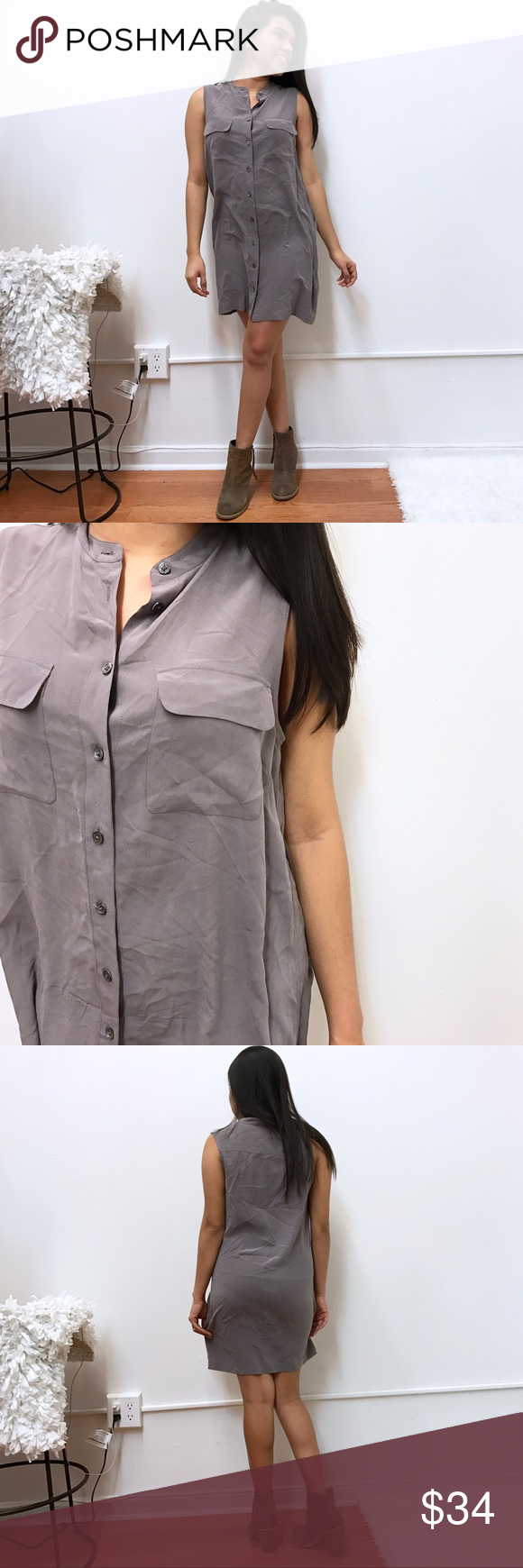 "Equipment silk Button Down dress S Small Equipment silk dress. Sz small. Great condition. Chest flat across 18"" length 32"" mauve color. Equipment Dresses"
