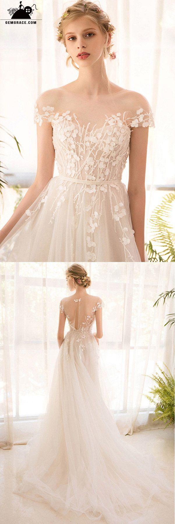 Romantic leaf lace sheer neckline boho wedding dress body