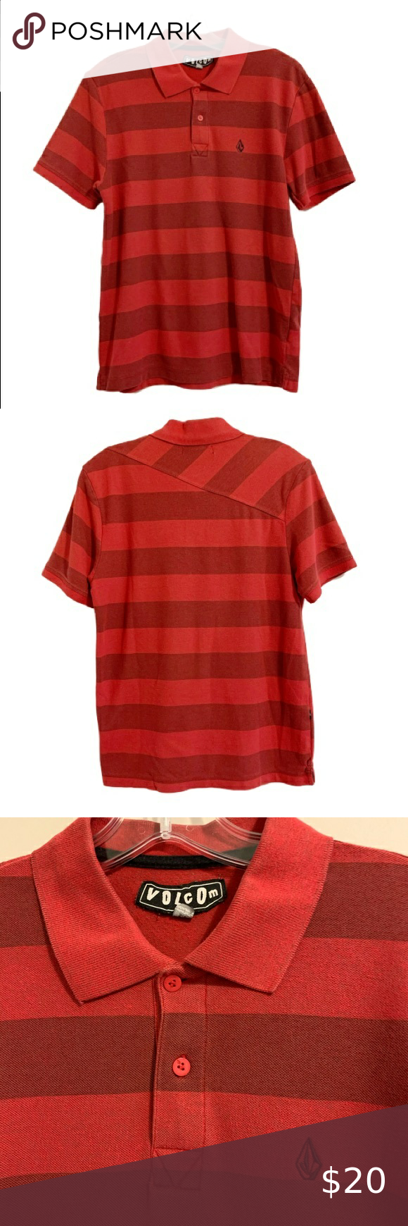 Volcom Red Stripe Logo Polo Shirt Volcom Short Sleeve Polo Shirt Red And Dark Red Stripe Pattern Volcom Stone Embroidered On Chest Shirts Polo Shirt Red Stripe