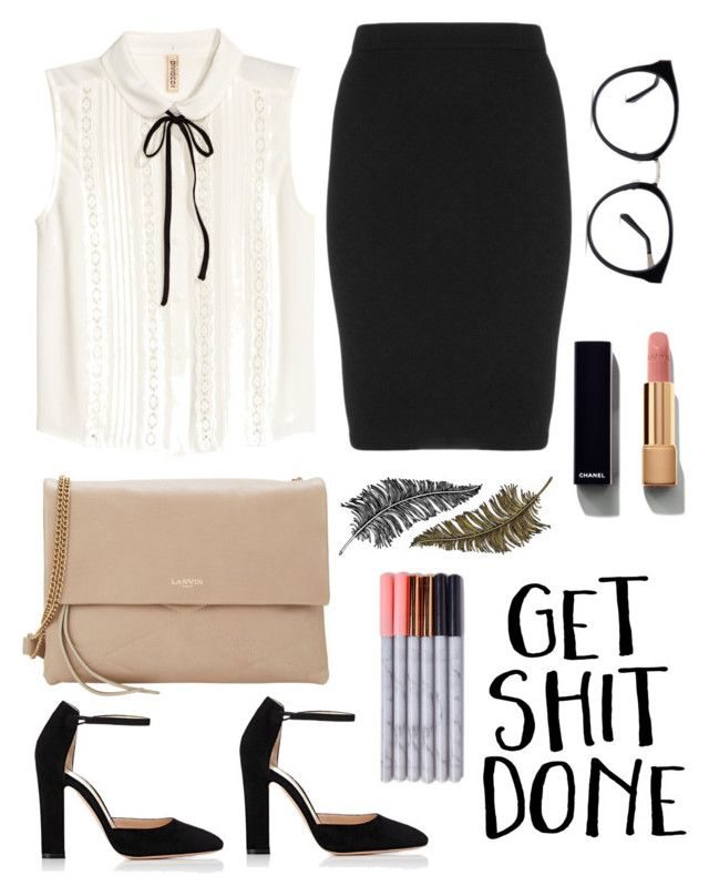 """""""Måske måske"""" by ltmorris on Polyvore featuring Lanvin, Manon Baptiste, Chanel, Gianvito Rossi and Paperself"""