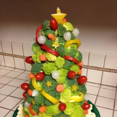 "I know that Christmas is one of those ""uh-oh"" days where we all pig out...try a veggie tree this year."