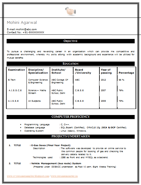 My First Resume Sample Template Of An Excellent B Tech Cse Resume