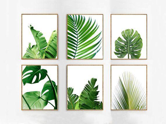 Leaf Prints Set Palm Banana Leaves Tropical Decor Green
