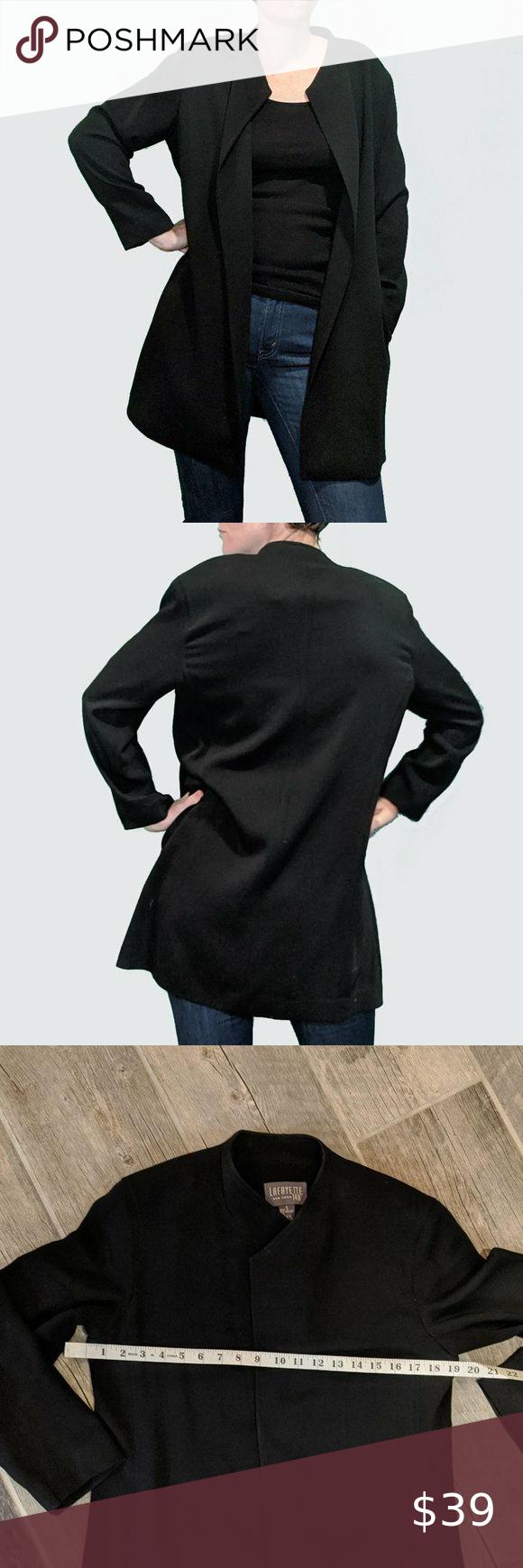 Lafayette 148 Wool Jacket Black Long Vintage Sz 6 Vintage Long Black Dress Jacket Open Front By Lafeyette 148 S Black Dress Jacket Wool Jacket Long Black Dress [ 1740 x 580 Pixel ]