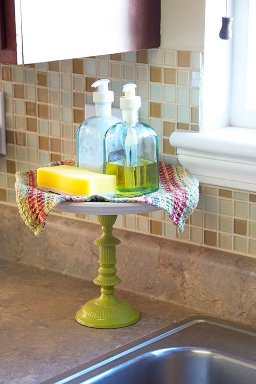 """Cake stand for your sink soaps and scrubs! So much cuter than just putting this stuff behind the faucet."""