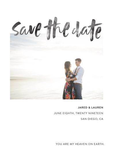 this one photo save the date card features a clean layout with a