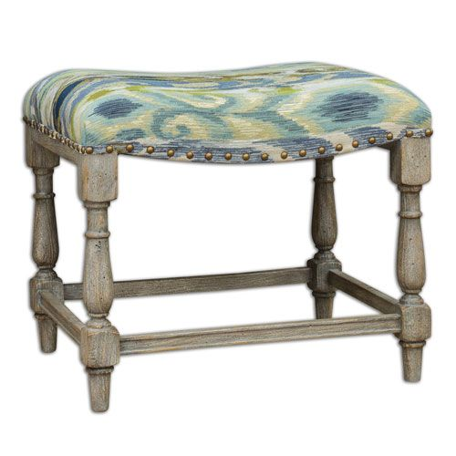 $262 my price Minkah Brushed Ikat And Indigo Small Bench Uttermost ...