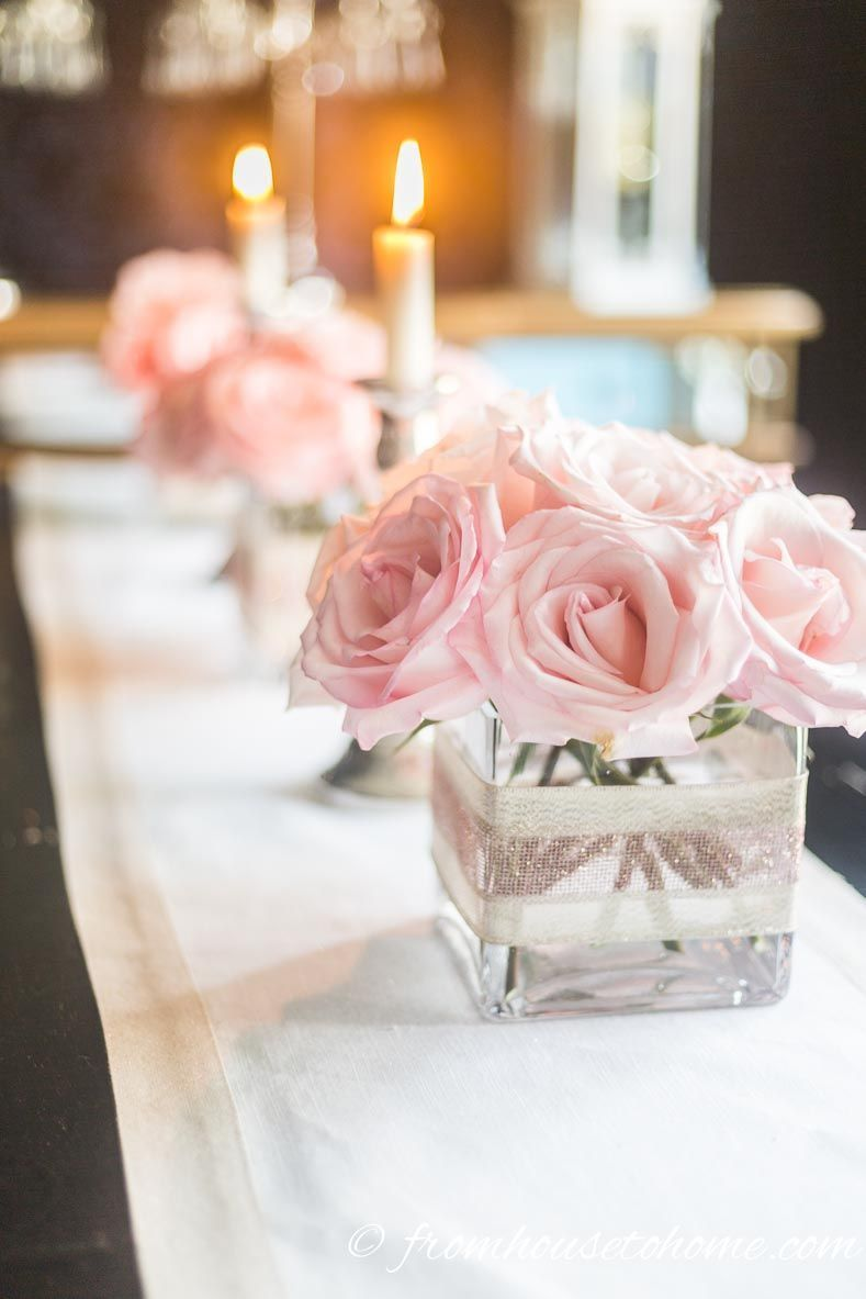 5 Simple But Elegant Pink Flower Centerpieces (That Are Low Enough To See Over) - Entertaining Diva @ From House To Home