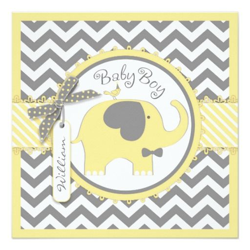 Yellow Elephant Bowtie Chevron Print Baby Shower Card Shower