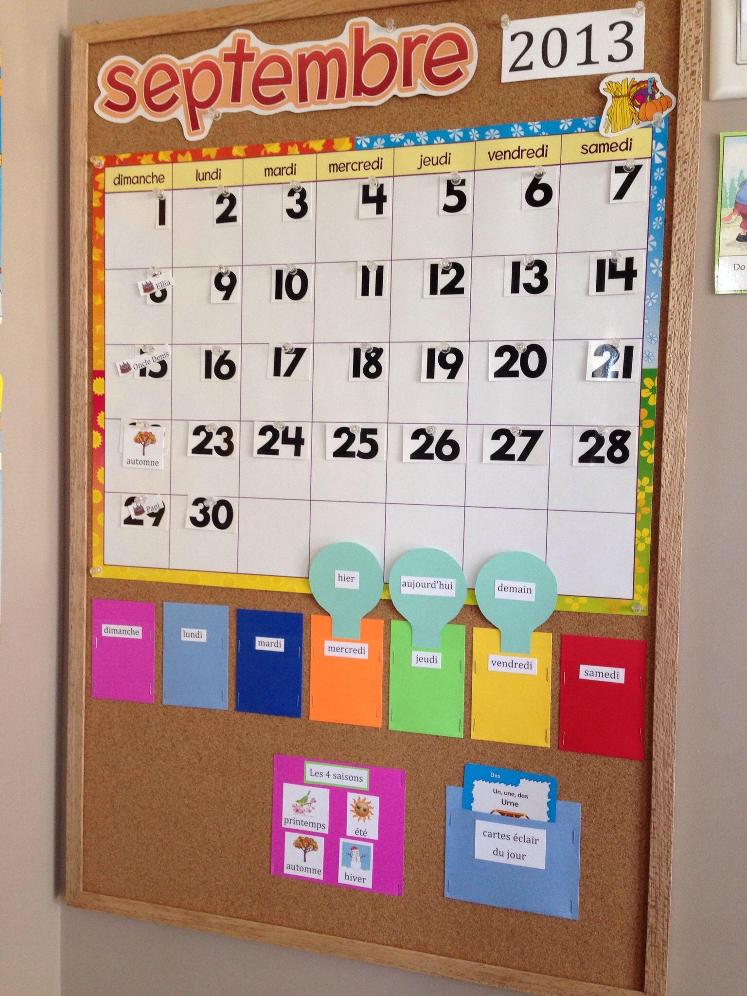 Classroom Calendar Board In French