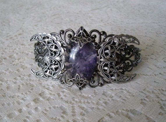 Amethyst Triple Moon Cuff Bracelet Wiccan Jewelry Pagan