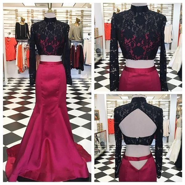 Two Piece Prom Dress, 2017 Mermaid Long Prom Dress, Rose Prom Dress with Black Lace, Long Sleeves Prom Dress