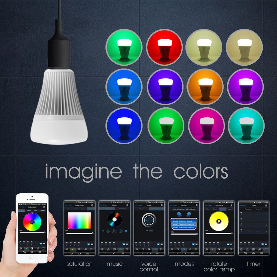 Bluetooth Smart Led Light Bulb App Control Apple Android Dimmable