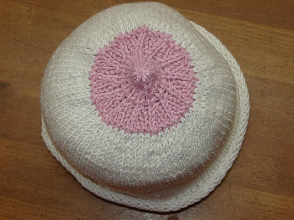 Knitting  free pattern for breastfeeding (Nipple) hat - also a link on my  crochet board for a crochet pattern. BOOB HAT 68892a1bcab