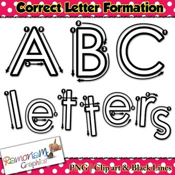 Alphabet Tracing Letters Correct Formation Font Clip Art  Form