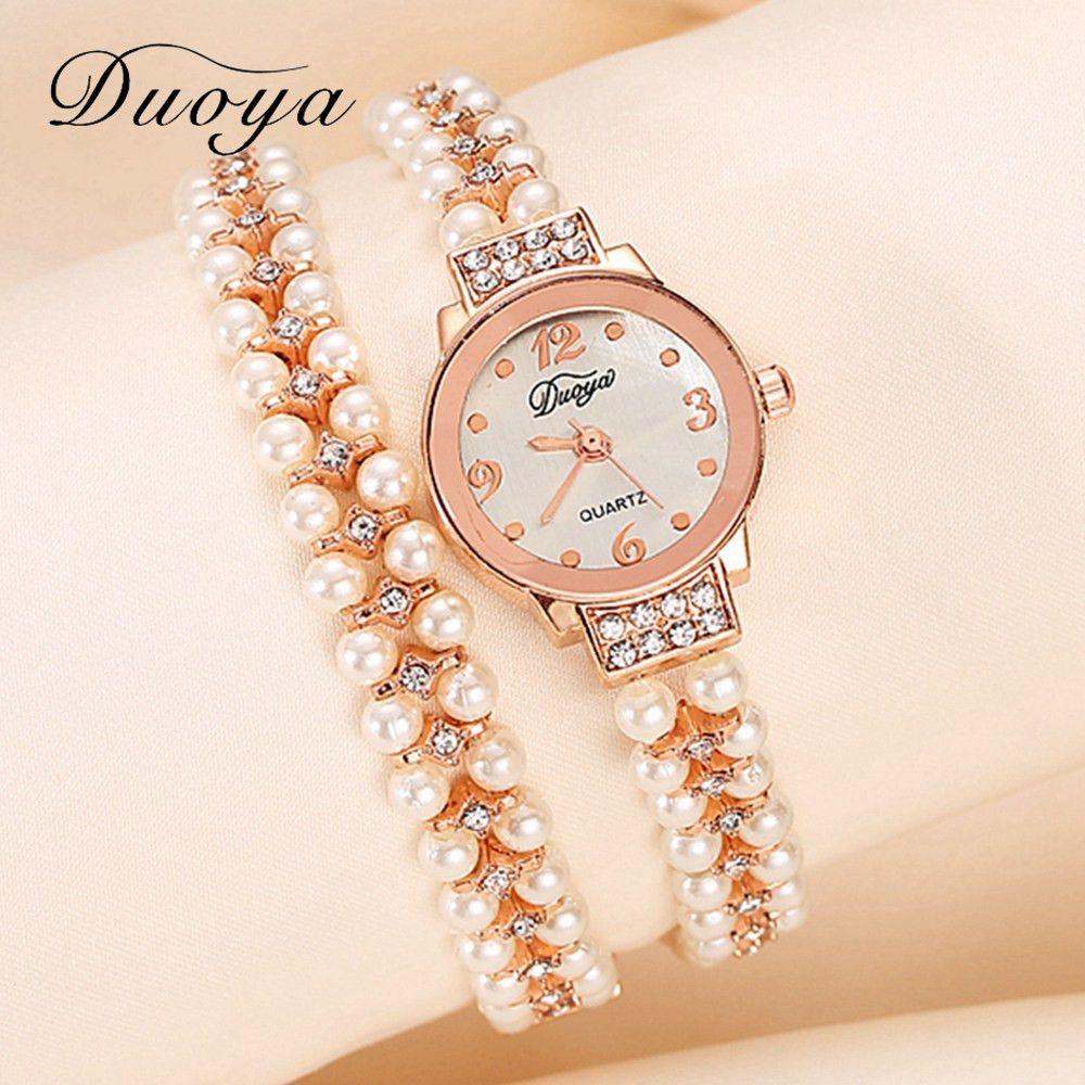 Duoya Model Girls Bracelet Watch Girls Gold Pearl Jewellery Metal ...