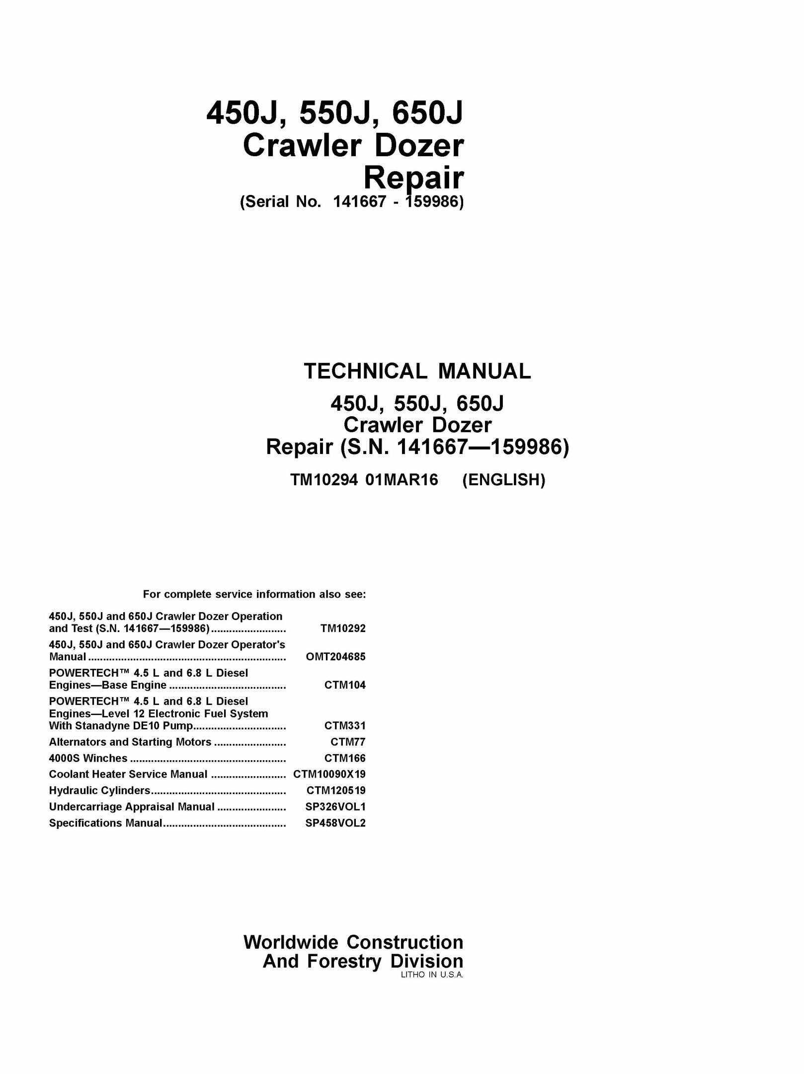 DOWNLOAD JOHN DEERE 450J 550J 650J CRAWLER DOZER REPAIR SERVICE TECHNICAL  MANUAL TM1029